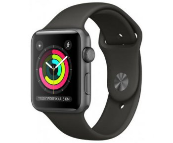 Смарт-часы Apple Watch Series 3 GPS 38mm Space Gray Aluminum w. Gray Sport B. - Space Gray (MR352)