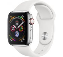 Apple Watch Series 4 (GPS+Cellular) 40mm Stainless Steel Case With White Sport Band