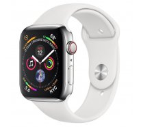 Смарт-часы Apple Watch Series 4 GPS + LTE 44mm Steel w. White Sport b. (MTV22/MTX02)