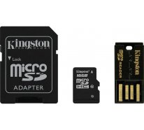 Карта памяти Kingston microSDHC/microSDXC Class 10 UHS-I SD adapter/USB reader 16Gb
